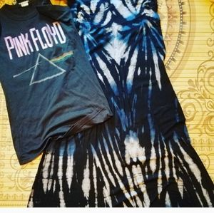 Black and blue tie dyed maxi skirt